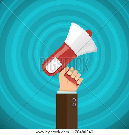 Megaphone in human hand with sound waves. Marketing and promotions. Democracy and elections. Stock vector illustration.