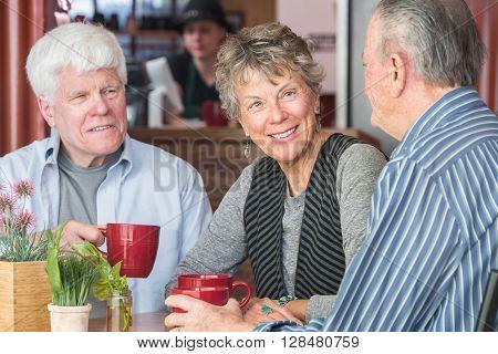 Mature Trio In Coffee House