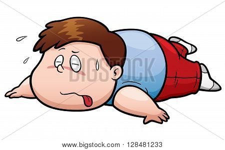 Vector illustration of Fat man tired cartoon