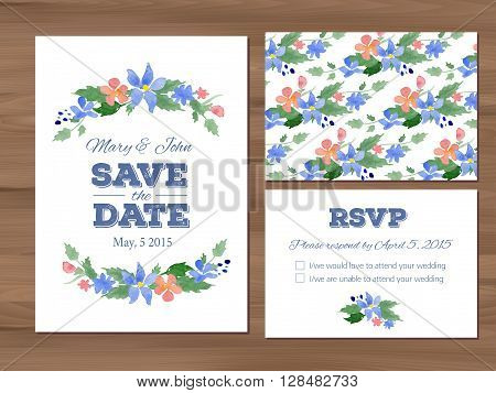 Wedding set with watercolor flowers and typographic elements. Save the date invitation, RSVP card, seamless floral background. Seamless illustrator swatch for background included. Free fonts used - Nexa Rust, Alex Brush, Crimson