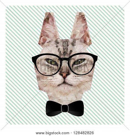 Polygonal Fashion Portrait of Hipster Cat in Glasses and Bow Tie on Stripes Background