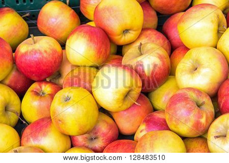 Background of red and yellow apples for sale at a market