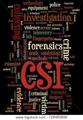 Csi, Crime Scene Investigation Word Cloud Concept 6
