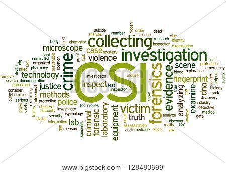 Csi, Crime Scene Investigation Word Cloud Concept 7