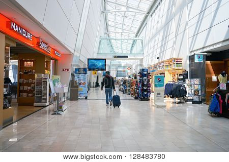 NEW YORK - APRIL 06, 2016: inside of JFK airport. John F. Kennedy International Airport is a major international airport located in Queens, New York City, United States.