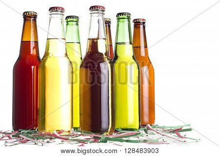 Unlabeled beers or cervesa with Cinco De Mayo holiday confetti