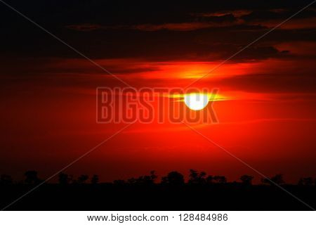 Bright red sunrise on the sky