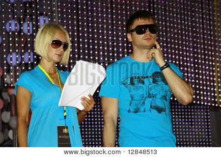 Russian pop star, singer Sergey Lazarev and Russian TV presenter and actor Lera Kudryavtseva