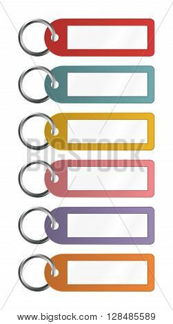Vector Illustration Of Colorful Key Fobs For Some Notes To Write On