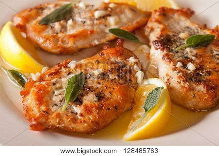 Fried Chicken Steaks With Sage, Garlic And Butter Macro. Horizontal
