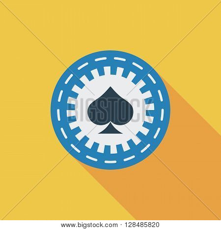 Gambling chips icon. Flat vector related icon with long shadow for web and mobile applications. It can be used as - logo, pictogram, icon, infographic element. Vector Illustration.
