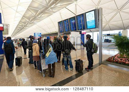 HONG KONG - MARCH 08, 2016: inside of Hong Kong International Airport. Hong Kong International Airport is the main airport in Hong Kong