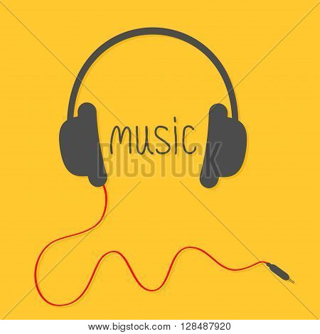 Black headphones with red cord and black word Music. Flat design icon. Yellow background. Vector illustration