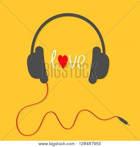 Headphones with red cord. Love card. White text and heart. Yellow background. Vector illustration