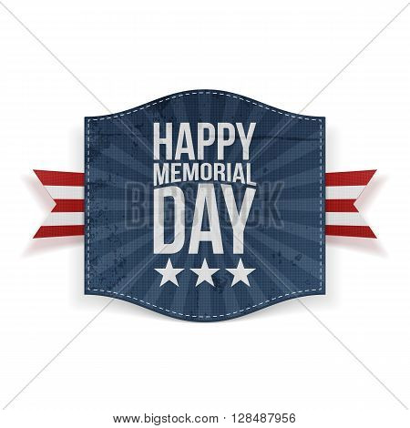 Happy Memorial Day Holiday Banner and striped Ribbon isolated on white Background. Vector Illustration