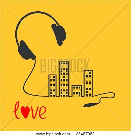 Headphones cord in shape of equalizer building house with switch on light windows Love Music card. Outline icon. Flat design Yellow background Vector illustration