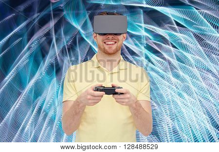 3d technology, virtual reality, entertainment and people concept - happy young man with virtual reality headset or 3d glasses playing with game controller gamepad over spiral neon lights background