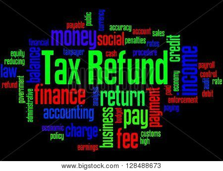 Tax Refund, Word Cloud Concept 3