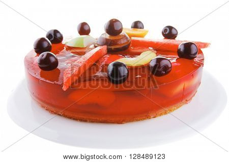 cold red jelly cake with cherry and watermelon