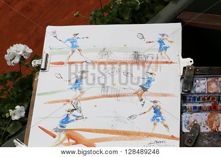PARIS, FRANCE- MAY 29, 2015: French artist drawing tennis players at Le Stade Roland Garros during Roland Garros 2015 in Paris, France