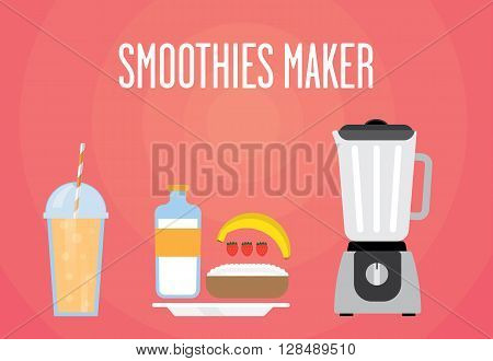 Modern blender with milk smoothie. Contains milk strawberries banana cottage cheese. Milk all smoothies for a healthy Breakfast.