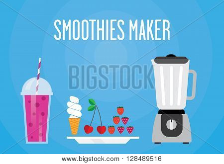 Modern blender with a berry smoothie. There is cherry strawberry raspberry ice cream. All berry smoothie for a healthy Breakfast.
