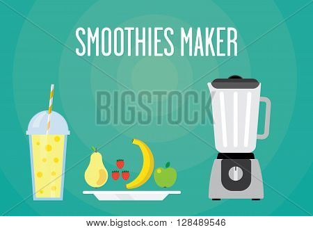 Modern blender with a fruit smoothie. Eat a banana apple strawberry pear. All fruit smoothies for a healthy breakfast.