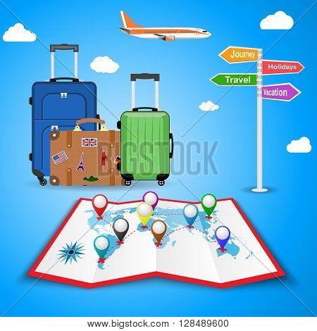 picture of travel bags and signpost vacation, travel, journey, holidays with clouds and plane, on background. illustration in flat design. travel and vacations concept