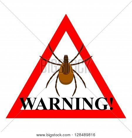 Mite warning sign. Vector illustration of tick warning sign.