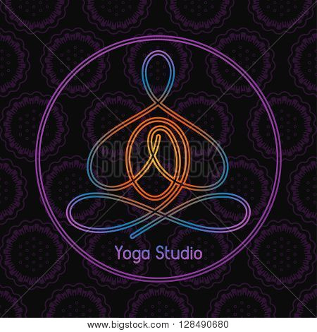 emblem for the yoga studio in a circle on a dark background
