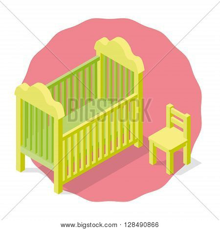 Isolated Children's cradle and chair on a pink background