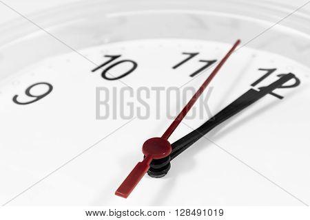 Closeup Of Hands On Clock Face.sensitive Focus