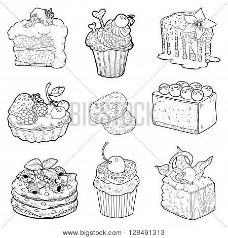 Black And White Collection Of Sweet Pastries. Cakes, Cupcakes And Cheesecake