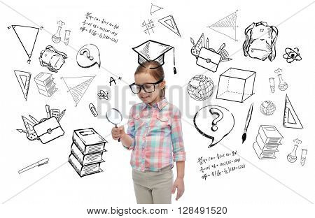 childhood, school, education, learning and people concept - happy little girl in eyeglasses with magnifying glass with doodles