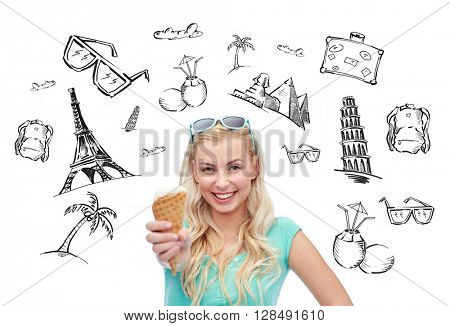 people, tourism, vacation and summer holidays concept - young woman or teenage girl in sunglasses eating ice cream over touristic doodles