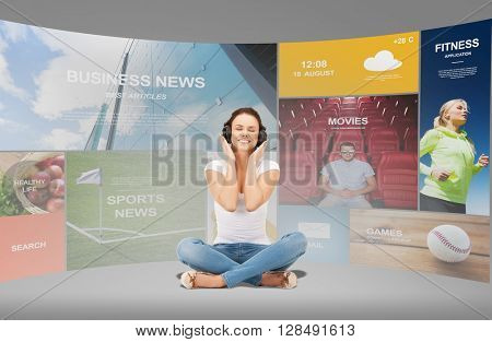 technology, music and happiness concept - smiling young woman or teen girl in headphones over virtual screens and web applications background