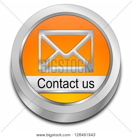 orange Button contact us - 3D Illustration