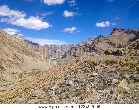 LADAKH INDIA - JULY 6 2014 : Pick-up truck at Leh - Manali road landscape view Ladakh India