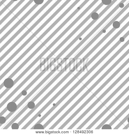 Grey diagonal stripes and circles seamless pattern. Vector striped graphic design