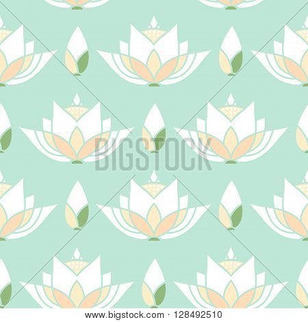 seamless mosaic pattern design with a lotus bud