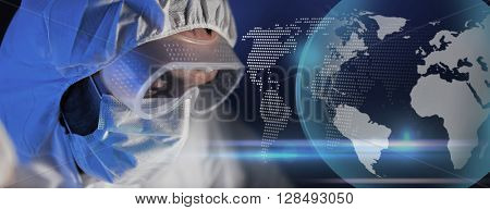 science, chemistry, biology, medicine and people concept - close up of scientist face in goggles and protective mask at chemical laboratory over blue globe hologram