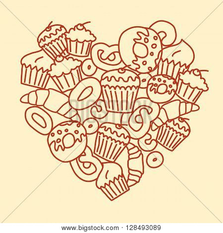 Vector heart made of outlined drawing of pastry.