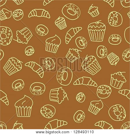 Vector seamless pattern background with outlined pastry .