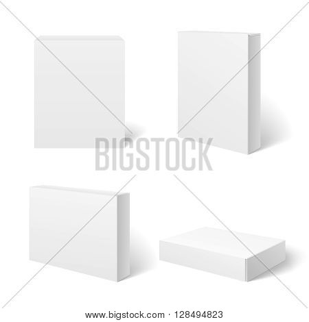 White blank cardboard package box in different positions. Vector template. Cardboard box template, box package,  box container illustration