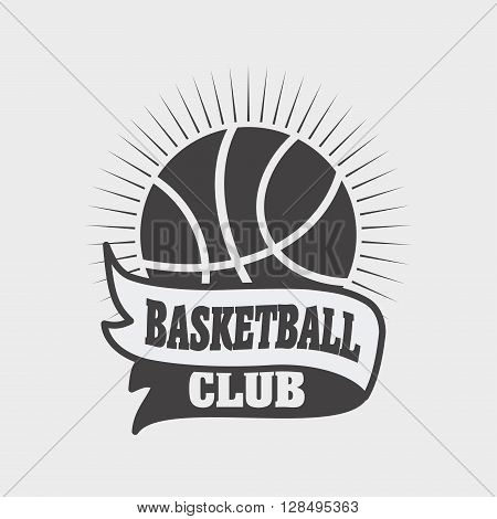 Basketball Sports Logo, Label, Emblem Design Template With A Ball And Ribbon On A Light Background.