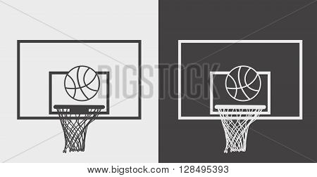 Vector Illustration Basketball Basket, Hoop And Net. Black And White