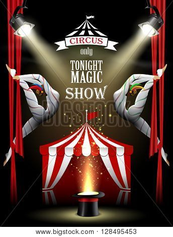 Circus background with two acrobatic girls, spotlights, tent and magician hat.