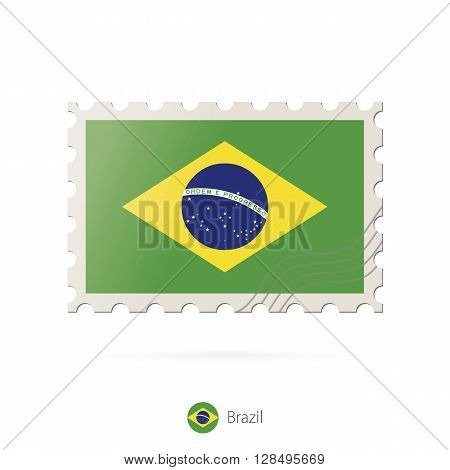 Postage Stamp With The Image Of Brazil Flag.