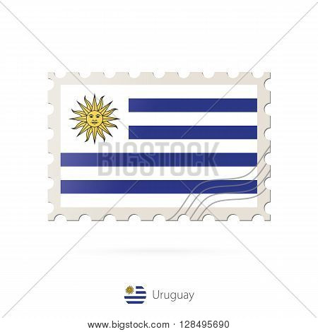 Postage Stamp With The Image Of Uruguay Flag.