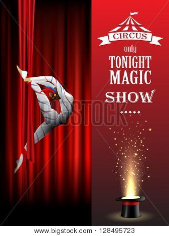 Circus background with acrobatic girl, red curtains and magician hat.